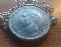 "1937 Australia Sterling Silver Crown on a 30"" 925 Italian Silver Figaro Chain."