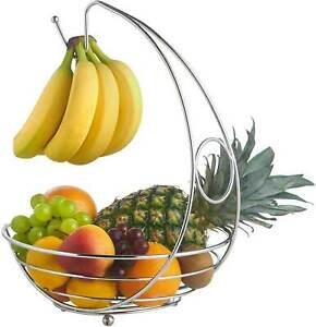 Fruit Bowl Holder with Banana Hanger Hook Tree Fruit Bowl Basket Stand Large UK