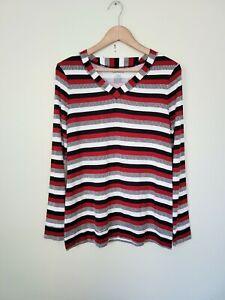 Westbound V Neck Striped Shirt Size Medium