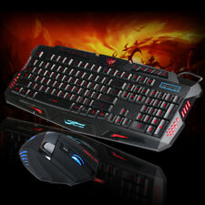 LED Gaming Wire keyboard + 5500DPI Mouse Set For Computer Multimedia Gamer