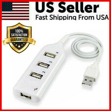 White USB 2.0 Hi-Speed 4-Port Splitter Hub For PC Notebook High Speed Computer