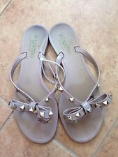 VALENTINO Beige Jelly Gold 'Rockstud' Thong Sandal Flat Shoe Flip Flop 37