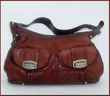 Authentic B Makowsky LEATHER Walnut Brown HOBO Bag Double Pockets MSRP 349 Clean