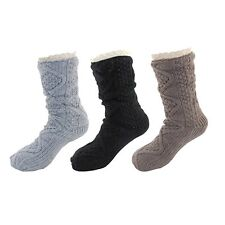 Warm Fuzzy Cozy Thermal Fleece-lined Knitted Non-skid Crew Socks, 3 Pairs Asst H