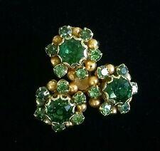 Kramer Earrings Clip On Green Rhinestone Goldtone Vintage