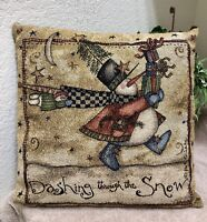 Christmas Holiday Green Folk Style Needlepoint Throw Pillow 14x14 by Perryville