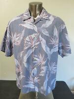 Mens Jamaica Jaxx Blue Floral Shirt Short Sleeve Hawaiian Size 2XL XXL Silk