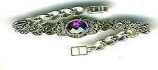 "925 Sterling Silver Marcasite & Oval Amethyst CZ Bracelet Length 7.1/4"" 17 gram"