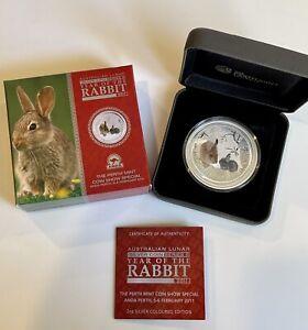 2011 Australia 2 Oz Silver Rabbit Colorized ANDA Show Special Coin VERY RARE!