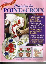 PLAISIRS DU POINT DE CROIX N°36 ETIQUETTE / NAPPE CHAMPETRE/ BAVOIR /PIQUE-NIQUE
