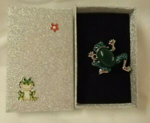 Diamante Frog brooch with decorated gift box