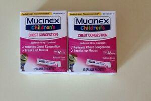2 Pack Children's Mucinex Chest Congestion Mini-Melts Age 4+ Bubble Gum Flavor