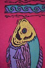 Neon Psychedelic Emo Ocean Fish Vaporwave Pink Jerzees L T-Shirt USA VTG 80s 90s