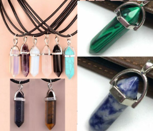 7 Chakra Pendant Necklace Natural Quartz Crystal Point Chakra Healing Stone UK
