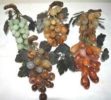 Vintage Chinese Carved Jade Semi Precious Stone Grapes