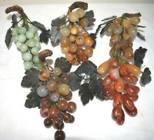 Vintage Chinese Carved Jade Semi Precious Stone Grapes