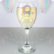 Personalised Magical Unicorn Wine Glass Add Girls Name Birthday, Christmas Gift