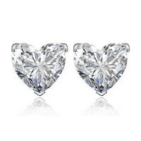 925 Silver HEART STUD EARRINGS MADE WITH SWAROVSKI CRYSTALS WG13