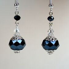 Midnight blue crystal vintage silver drop earrings wedding bridesmaid gift