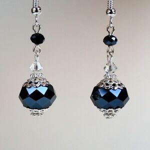 Midnight blue crystal vintage silver drop earrings wedding bridesmaid gift
