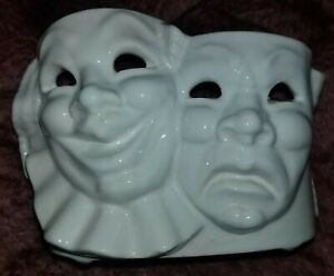 🎭RARE VTG Shawnee USA POTTERY #757 PLANTER THEATER COMEDY TRAGEDY mask FACES 🎭