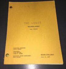 "THE QUEST (1976) ORIG TV SCRIPT ""BUFFALO HUNTERS"" RAINBOW FINAL wSTIFF CVRS -XF"