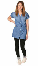 Unbranded Denim Patternless Short Sleeve Dresses for Women