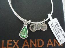 Alex and Ani AUGUST PERIDOT TEARDROP Silver Charm Bangle New W/Tag Card &Box