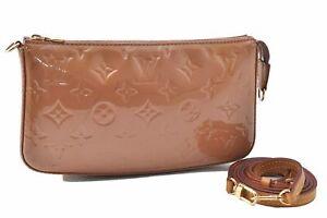 Louis Vuitton Vernis Pochette Accessoires Long Shoulder Pouch Beige LV C6378