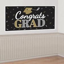GRADUATION WALL BANNER Party Decoration Congrats Grad 2020 Gold Black Scene Prop