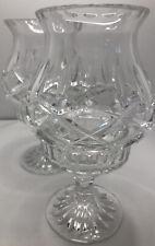 "Crystal Cut Clear Glass Votive Candle Holder Tea Light 4.25"" x 7.25"" Candelabra"