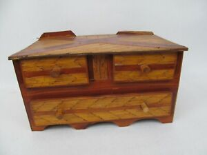 Vintage Prison or Tramp Art – Matchstick 3 Drawer Chest Trinket Jewelry Box
