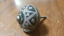 Hand-made Hand-painted Ceramic Drawer Knob - Dark grey with triangles - S19