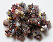100pcs 8x3mm Millefiori Glass Star Beads - Pale Amethyst