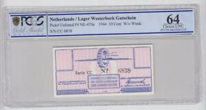 Netherlands Bearing Westerbork 10 Cent Coupon 1944 Grading 64 Uncirculated