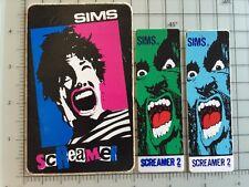 3pc Lot Vintage 1980s Screamer & Screamer 2 Sims Skateboard Sticker Decals
