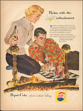 1957 Vintage ad for Pepsi-Cola`Art Couple Chess Game Retro Emblem  (051617)