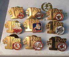 Vintage Baseball 1988 Hat Pin MLB Baseball #1 Fan - set of 9