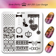 Born Pretty Nail Art Stamping Templates Lace Image Stamp Plates 6*6cm BP-X03 DIY