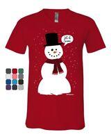 Let It Snow V-Neck T-Shirt Funny Snowman Christmas Xmas Tee