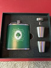 Shamrock  00006000 Stainless Steel 6oz Flask set with 2 stainless shot glasses, Funnel Nib