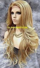 """34"""" Blonde Mix Full Lace Front Wig Natural Hair Part Heat Ok Hair piece #27/613"""