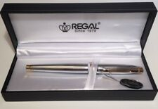 Regal Executive Lightweight Chrome Gold Fountain Pen  - George - Gift Boxed