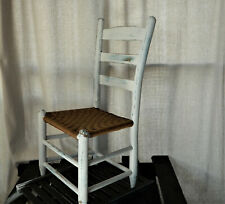 Vintage White farmhouse, wood child's time out chair, naughty chair, distressed