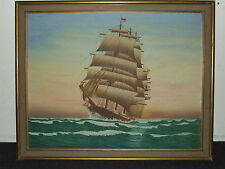 Vintage Framed Maritime Clipper Ship Oil Painting Signed C.W. Burrill 1948