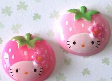 US SELLER - 20 pcs x Resin Kitty/Cat Flatback Beads/Hello/Strawberry SB269