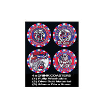 4  x BULLDOGS KURRI & OTHERS FOOTBALL RUGBY LEAGUE AUSSIE RULES DRINK COASTERS