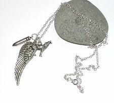 angel wing,howling wolf & silver bullet necklace