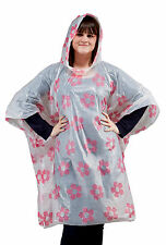 PONCHO Adult Pink Flower Waterproof Festival Events (Single) 75010121