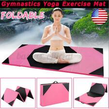 "US 72""x47"" Folding Panel Gymnastics Mat Gym Exercise Stretching Yoga Workout Pad"